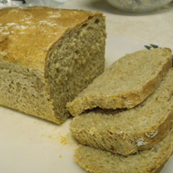 Half Wheat No-Knead Bread Sliced and Ready to Eat