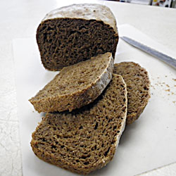 Dark Rye No-Knead Bread sliced
