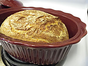 No-Knead Anadama Bread in stoneware