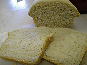 No-Knead Bread baked in a Crock Pot all sliced