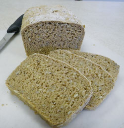 No-Knead 100% Whole Wheat Seed Bread Sliced